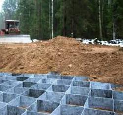Строительство дороги с применением георешетки