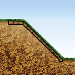 Армирование склонов модульной георешеткой