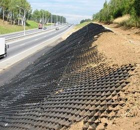 Объемная георешетка в  дорожном строительстве